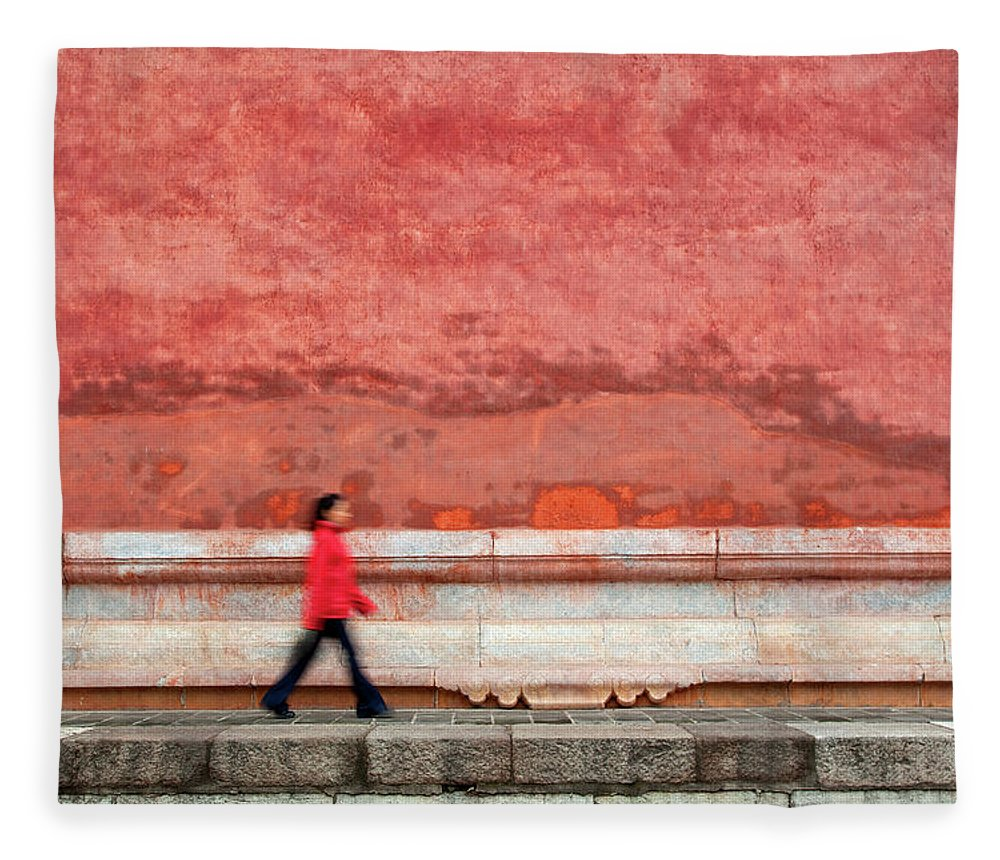 People Fleece Blanket featuring the photograph Chinese Young Lady Walking By Monument by Grant Faint