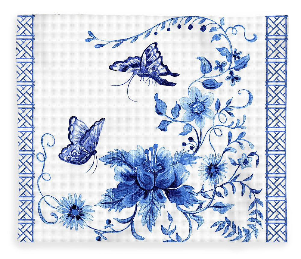 Butterflies Fleece Blanket featuring the painting Chinoiserie Blue And White Pagoda With Stylized Flowers Butterflies And Chinese Chippendale Border by Audrey Jeanne Roberts