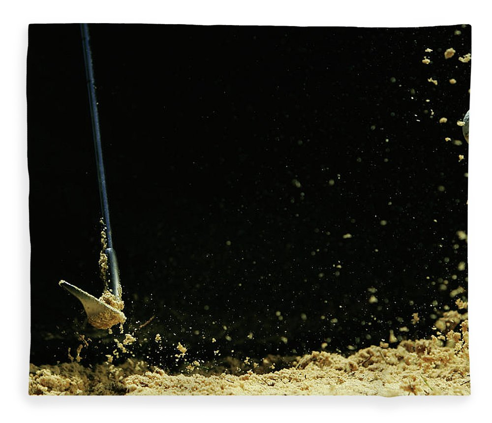 Sand Trap Fleece Blanket featuring the photograph Chipping A Golf Ball Out Of Sand On A by Kolbz
