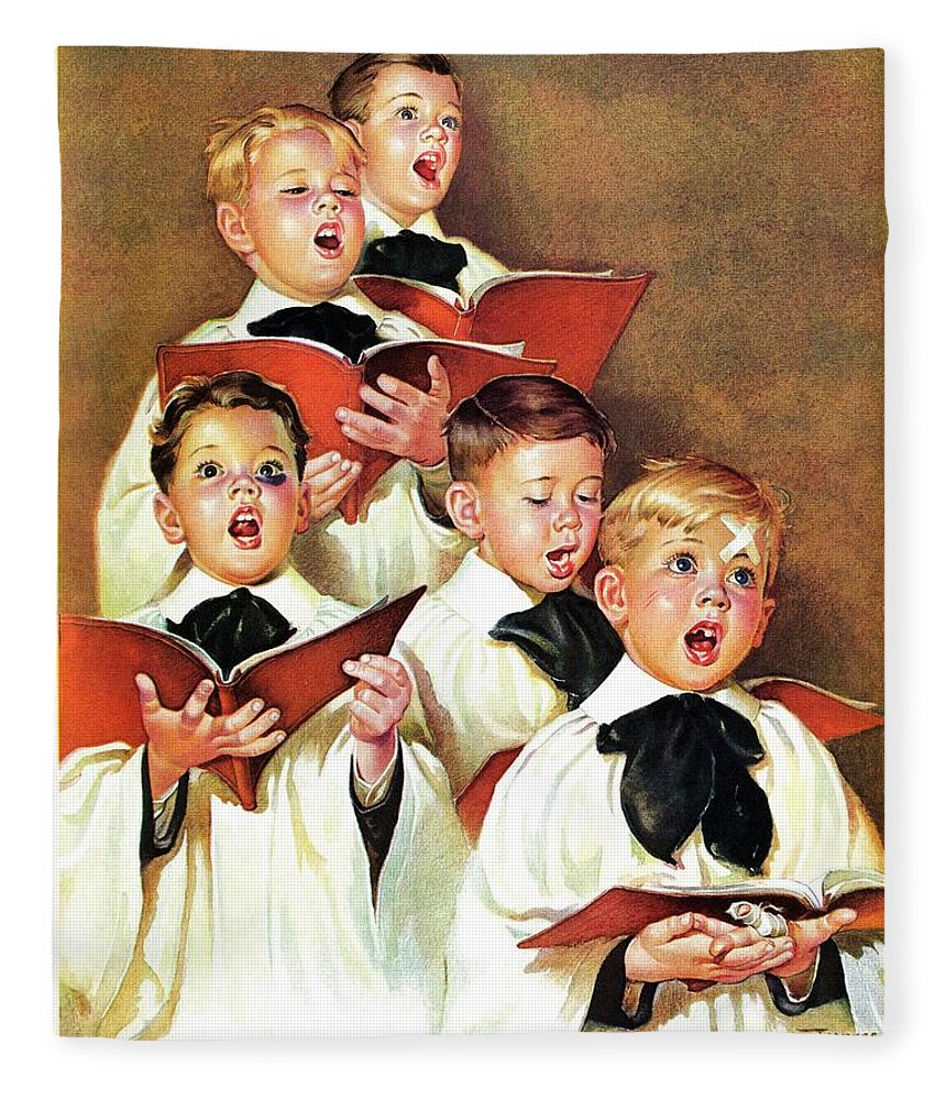 Black Eyes Fleece Blanket featuring the drawing Choir Boys Will Be Boys by Frances Tipton Hunter