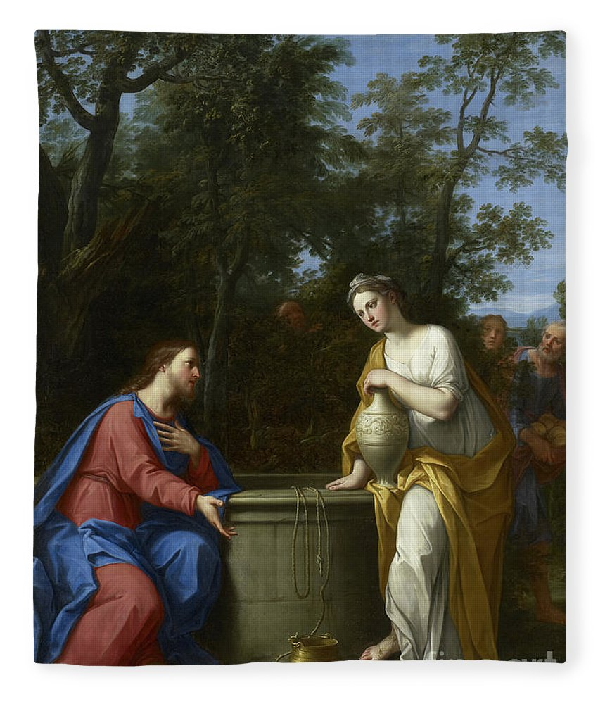 Christian Fleece Blanket featuring the painting Christ And The Woman Of Samaria by Marco Antonio Franceschini