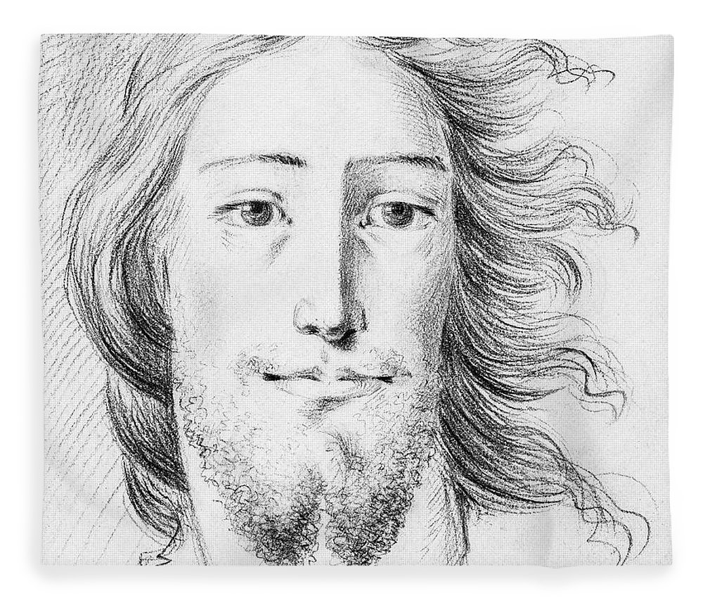Sketch Fleece Blanket featuring the painting Christ Sketch By Jean Bernard 1775-1883 by Celestial Images