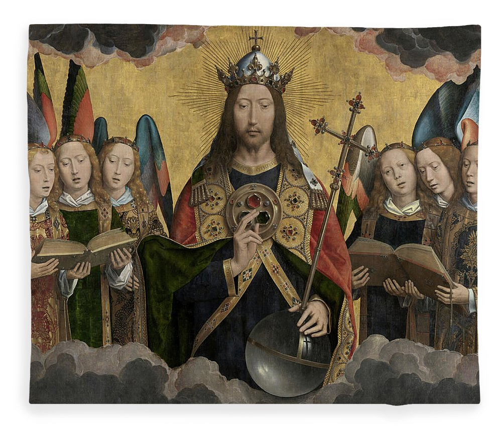 Hans Memling Fleece Blanket featuring the painting Christ With Singing And Music-making Angels - Panel 1 by Hans Memling