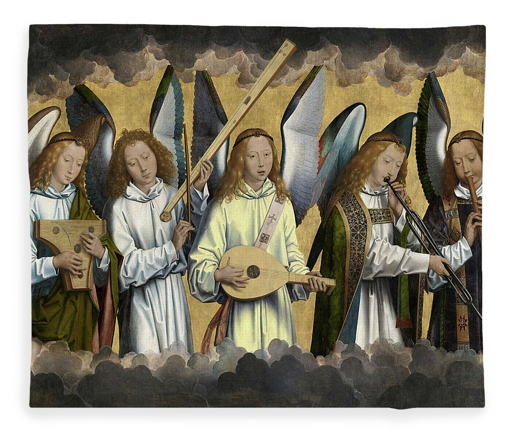 Hans Memling Fleece Blanket featuring the painting Christ With Singing And Music-making Angels - Panel 3 by Hans Memling