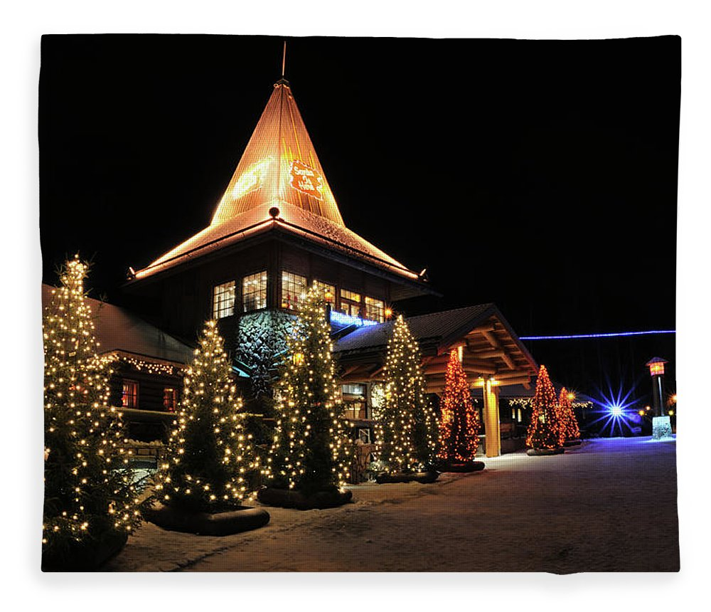 Holiday Fleece Blanket featuring the photograph Christmas Decorated Town by Csondy