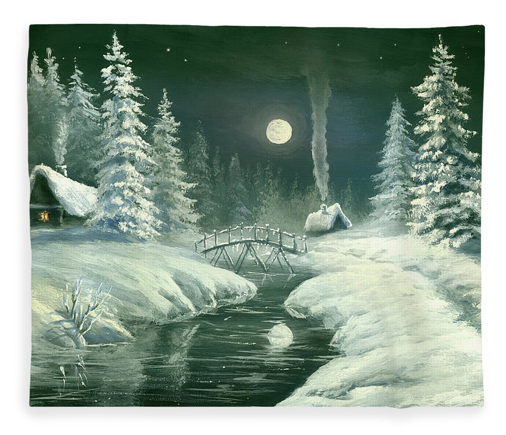 Art Fleece Blanket featuring the digital art Christmas Night In The Country by Pobytov