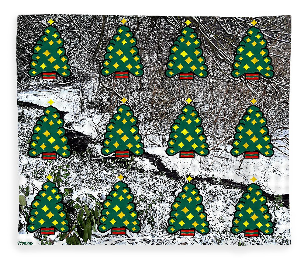 Christmas Fleece Blanket featuring the mixed media Christmas Trees by Patrick J Murphy