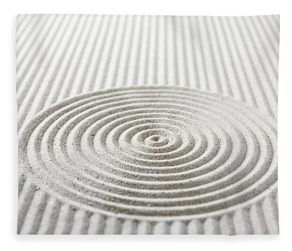 In A Row Fleece Blanket featuring the photograph Circles And Lines In Sand by Wragg