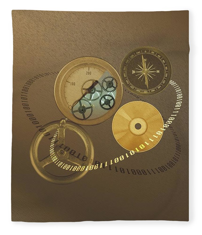 The Media Fleece Blanket featuring the photograph Circular Objects And Binary Code, Cg by Daj