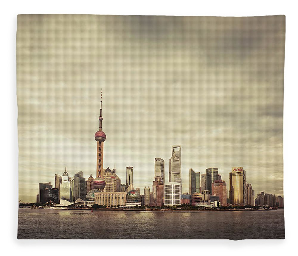 Communications Tower Fleece Blanket featuring the photograph City Skyline At Sunset, Shanghai, China by D3sign