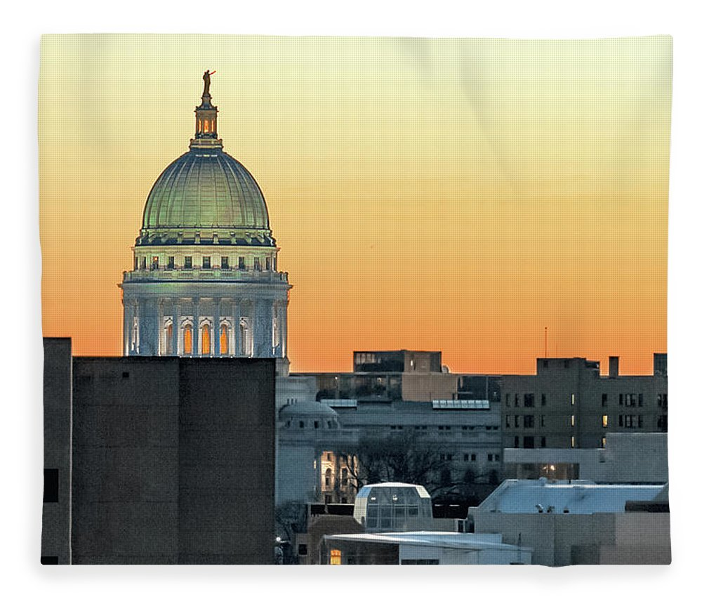 Wisconsin State Capitol Fleece Blanket featuring the photograph City Surrounds It by Todd Klassy