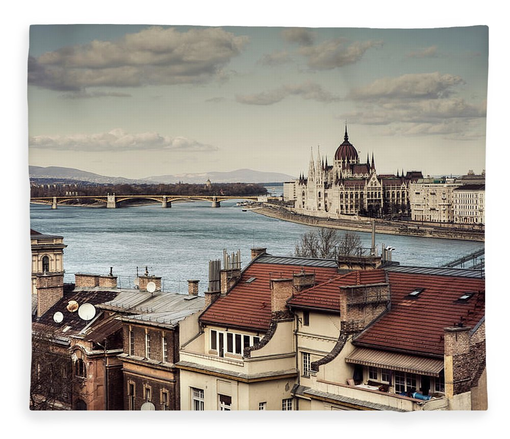 Tranquility Fleece Blanket featuring the photograph Cityscape Of Budapest by By Matthew Heptinstall