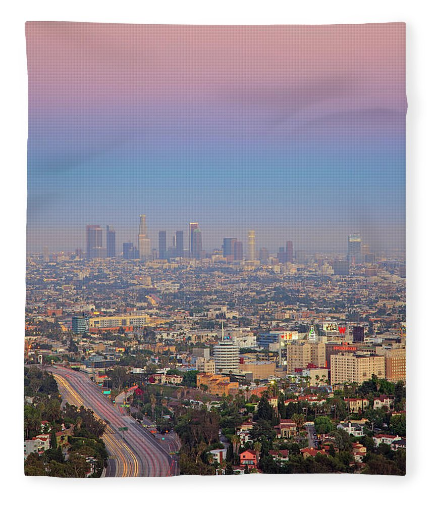 California Fleece Blanket featuring the photograph Cityscape Of Los Angeles by Eric Lo