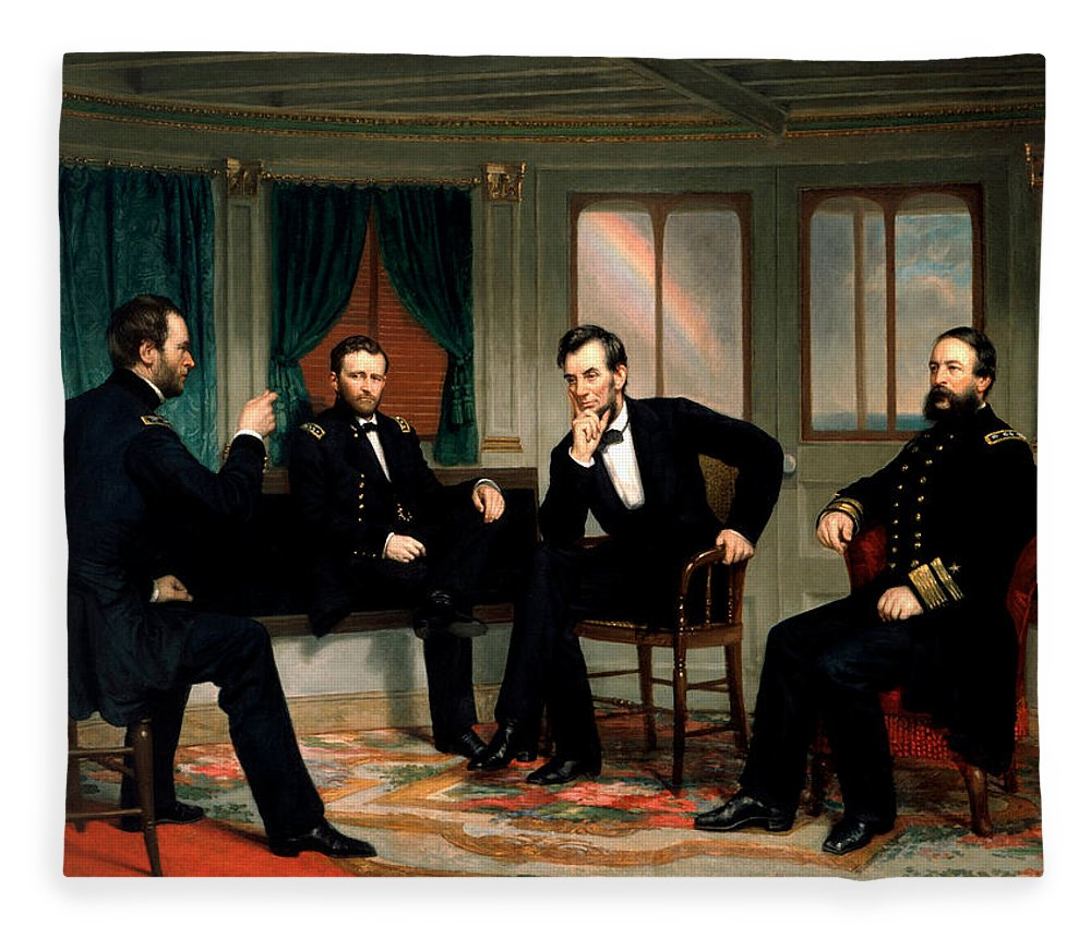 Civil War Fleece Blanket featuring the painting Civil War Union Leaders - The Peacemakers - George P.a. Healy by War Is Hell Store