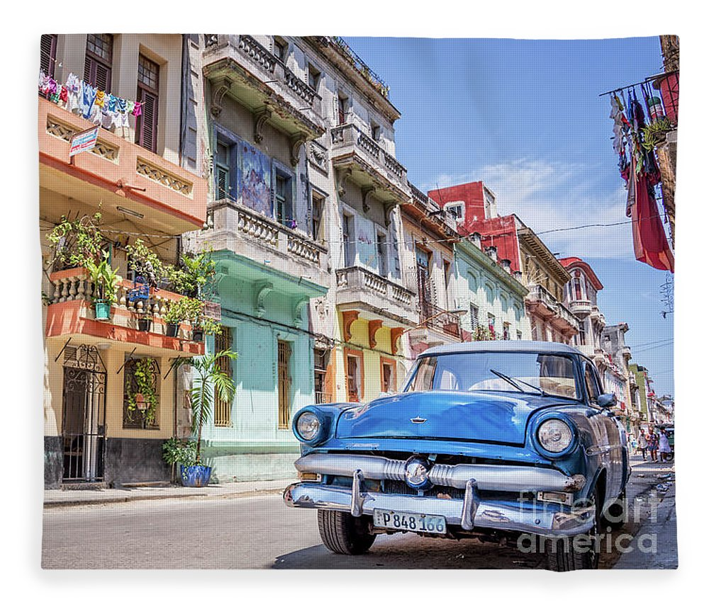 Classic Fleece Blanket featuring the photograph Classic Car In Havana, Cuba by Delphimages Photo Creations