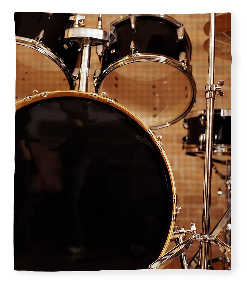 Microphone Stand Fleece Blanket featuring the photograph Close-up Of A Drum Kit by Digital Vision.