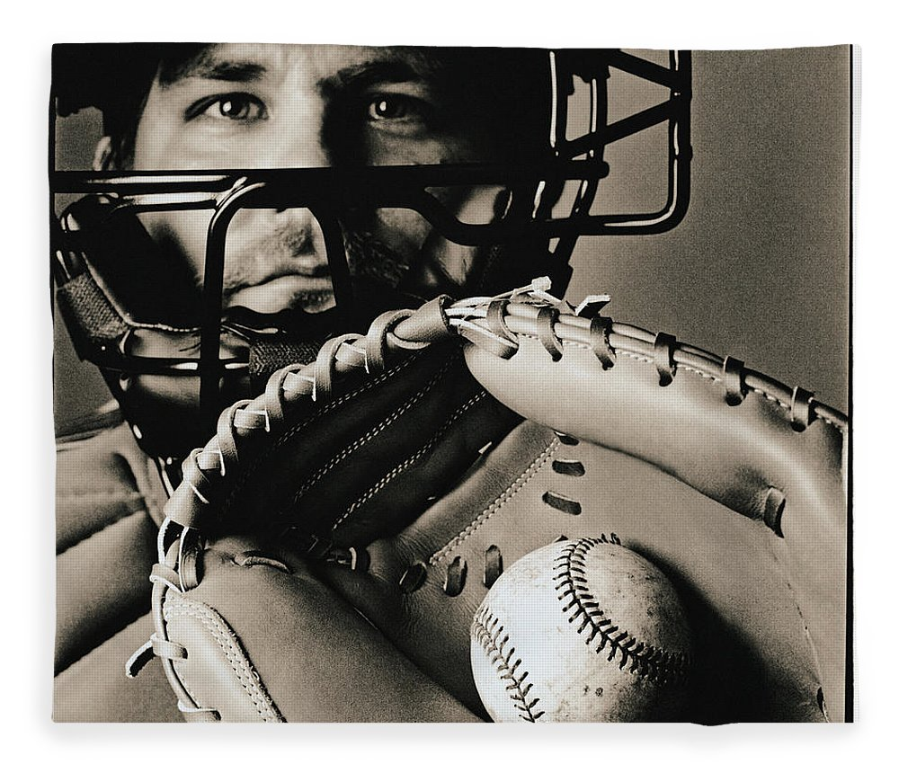 Baseball Catcher Fleece Blanket featuring the photograph Close-up Of Catcher by Anthony Saint James