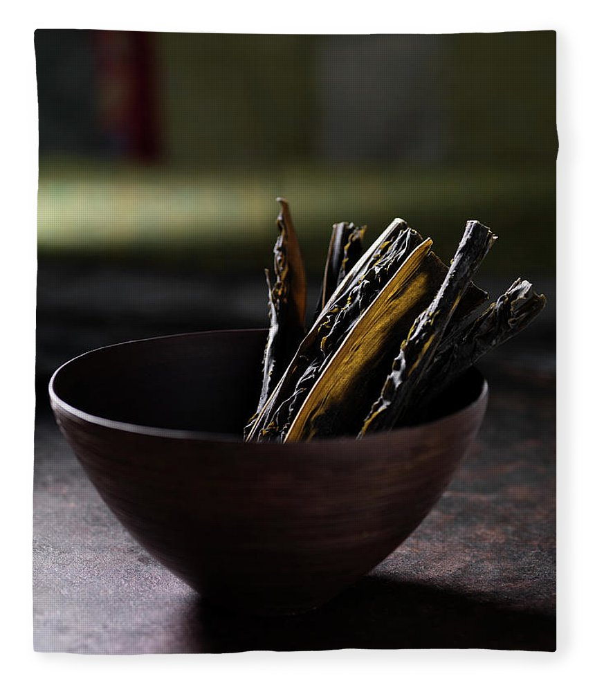 Seaweed Fleece Blanket featuring the photograph Close Up Of Herbs In Bowl by Diana Miller