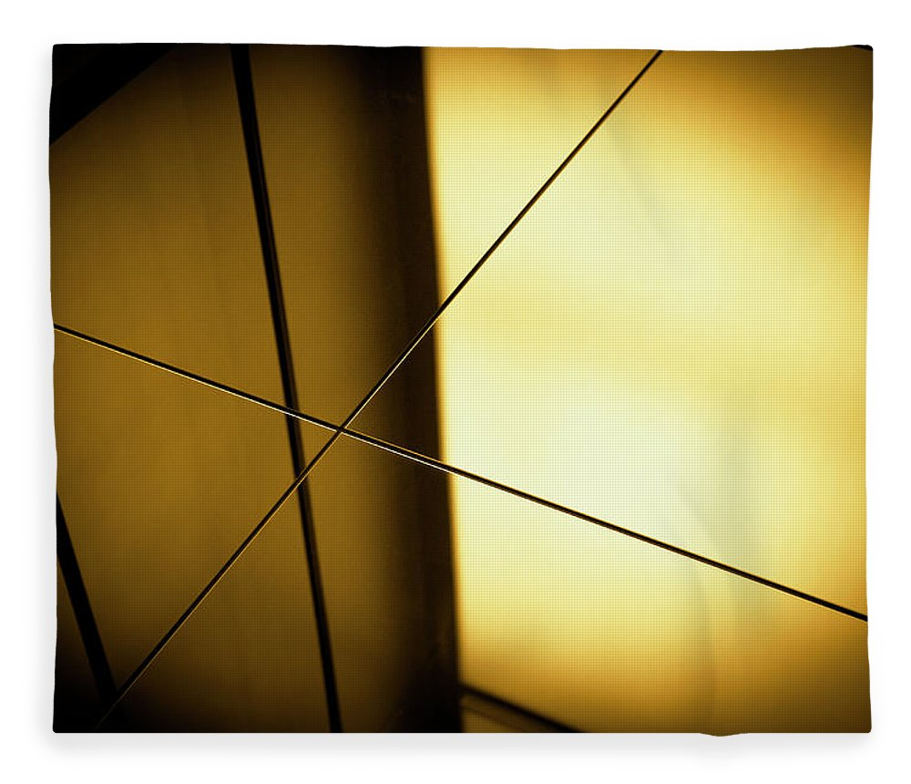 Shadow Fleece Blanket featuring the photograph Close-up Spot Lit Reflection In Yellow by Ralf Hiemisch