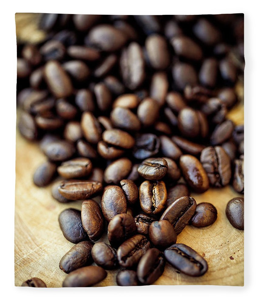 Black Color Fleece Blanket featuring the photograph Coffee Beans by Chang