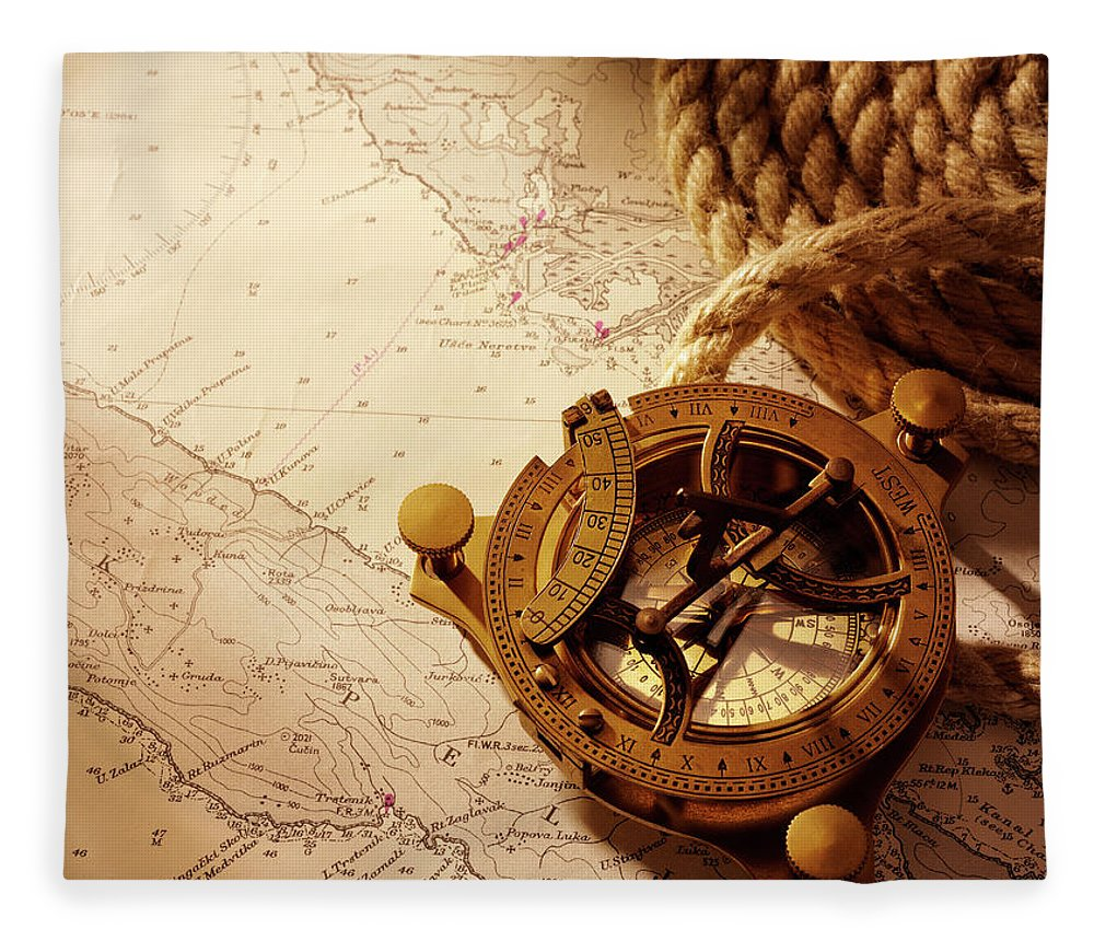 Rope Fleece Blanket featuring the photograph Coiled Rope And Nautical Chart With A by Wragg
