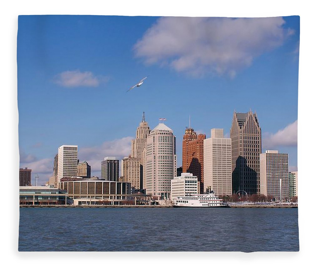 Downtown District Fleece Blanket featuring the photograph Cold Detroit by Corfoto