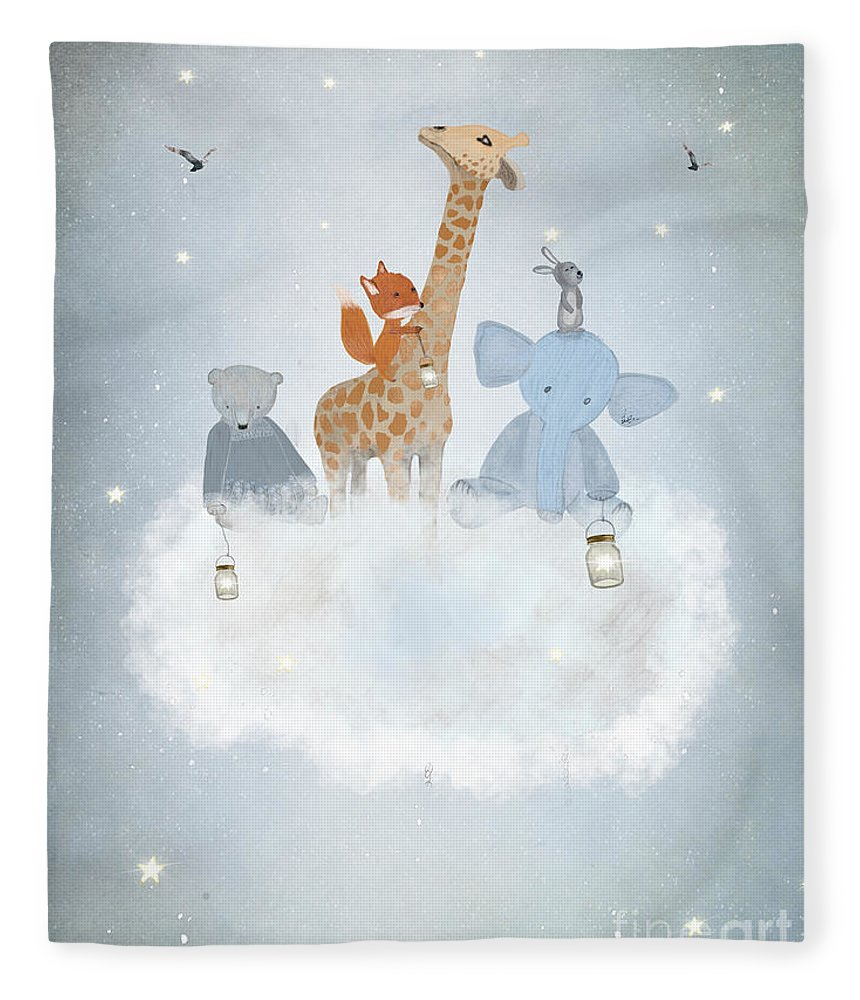 Bears Fleece Blanket featuring the painting Collecting Stars by Bri Buckley