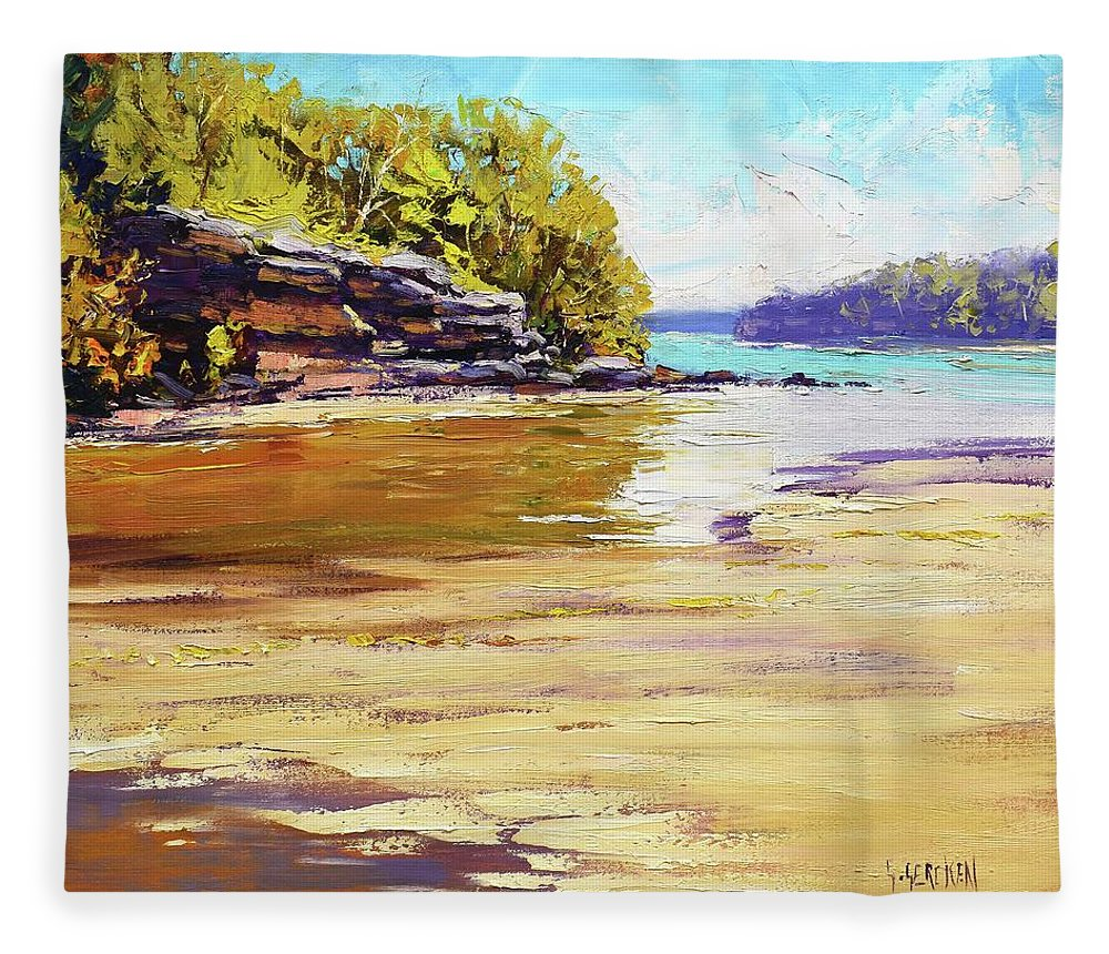 Beach Paintings Fleece Blanket featuring the painting Collins Beach Sydney by Graham Gercken
