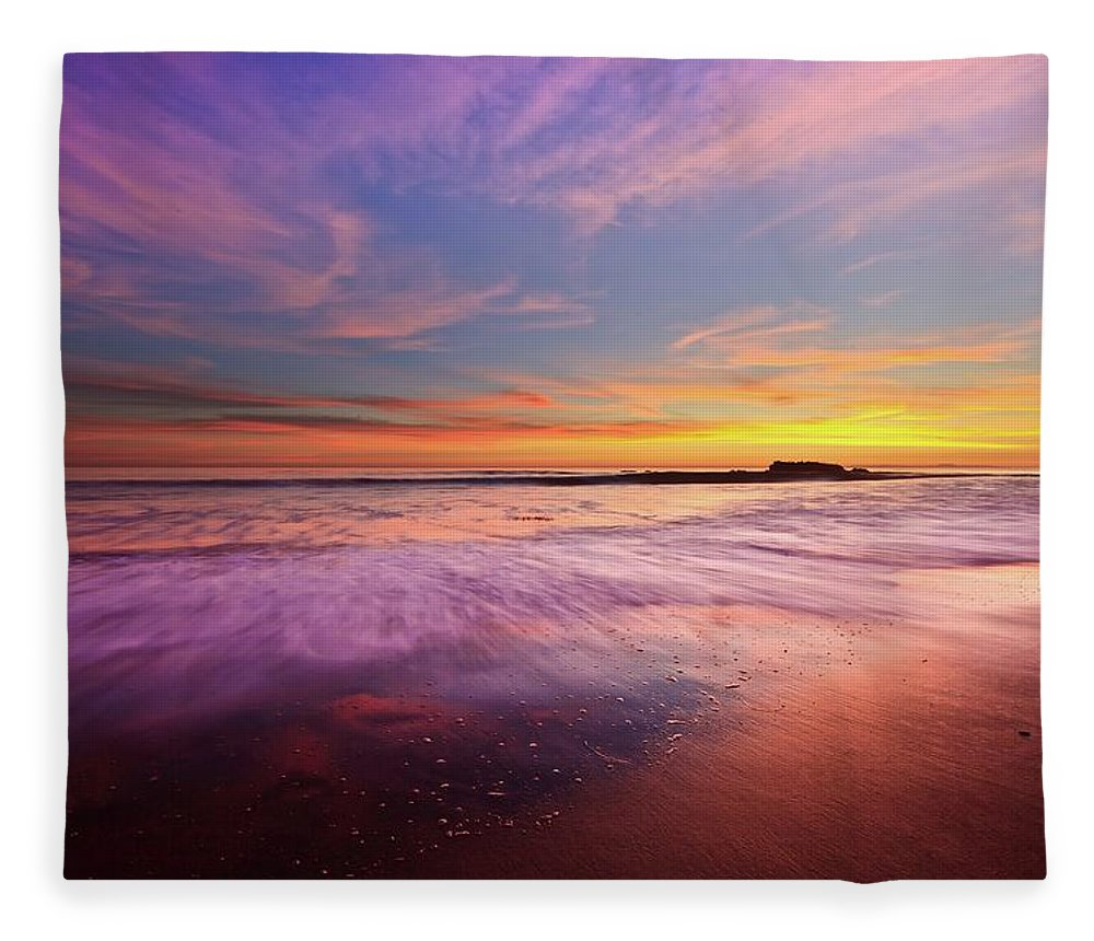 Scenics Fleece Blanket featuring the photograph Color Splash At Sunset, Laguna Beach by Eric Lo