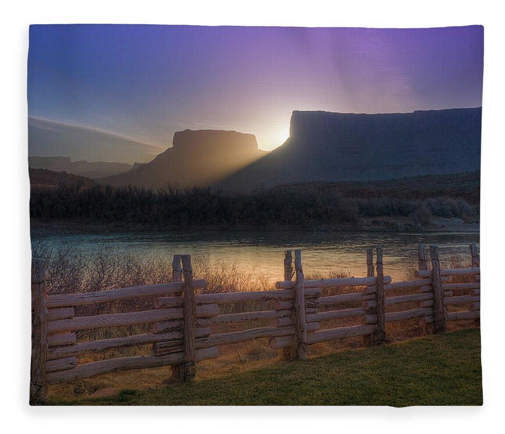 Scenics Fleece Blanket featuring the photograph Colorado River Sunrise, Moab, Utah, Usa by Fotomonkee