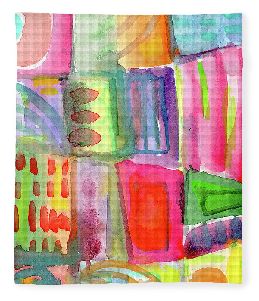 Colorful Fleece Blanket featuring the painting Colorful Patchwork 2- Art by Linda Woods by Linda Woods
