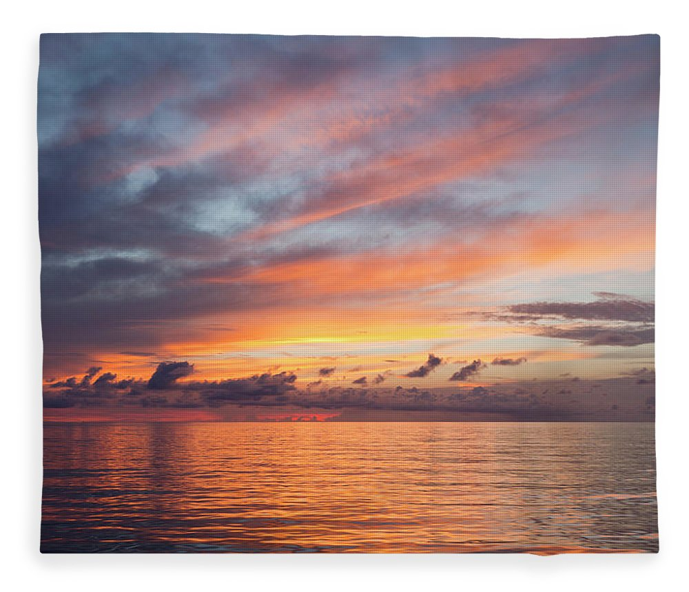 Tranquility Fleece Blanket featuring the photograph Colorful Sunset Over The South Pacific by Jeff Hunter