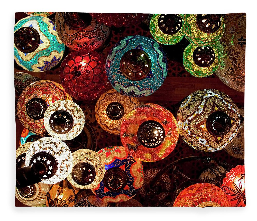 Antique Shop Fleece Blanket featuring the photograph Colorful Turkish Lanterns From The by Wldavies