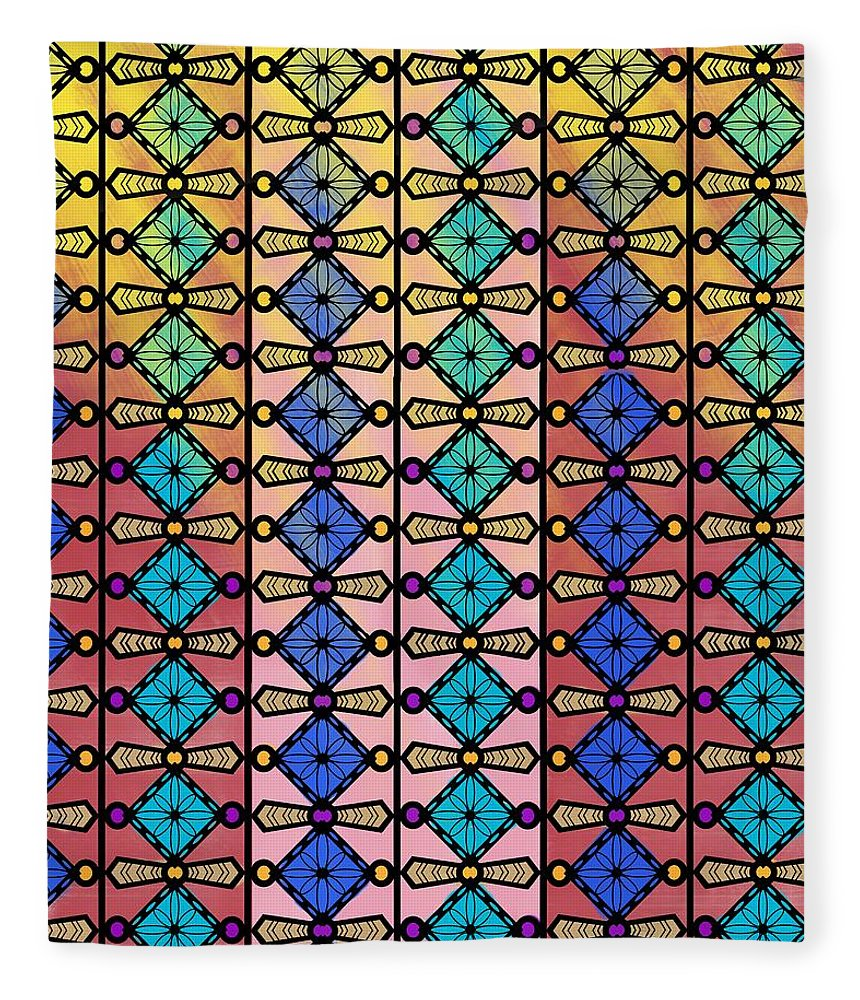 Coloured Glass Fleece Blanket featuring the drawing Coloured Glass Window by Joan Stratton