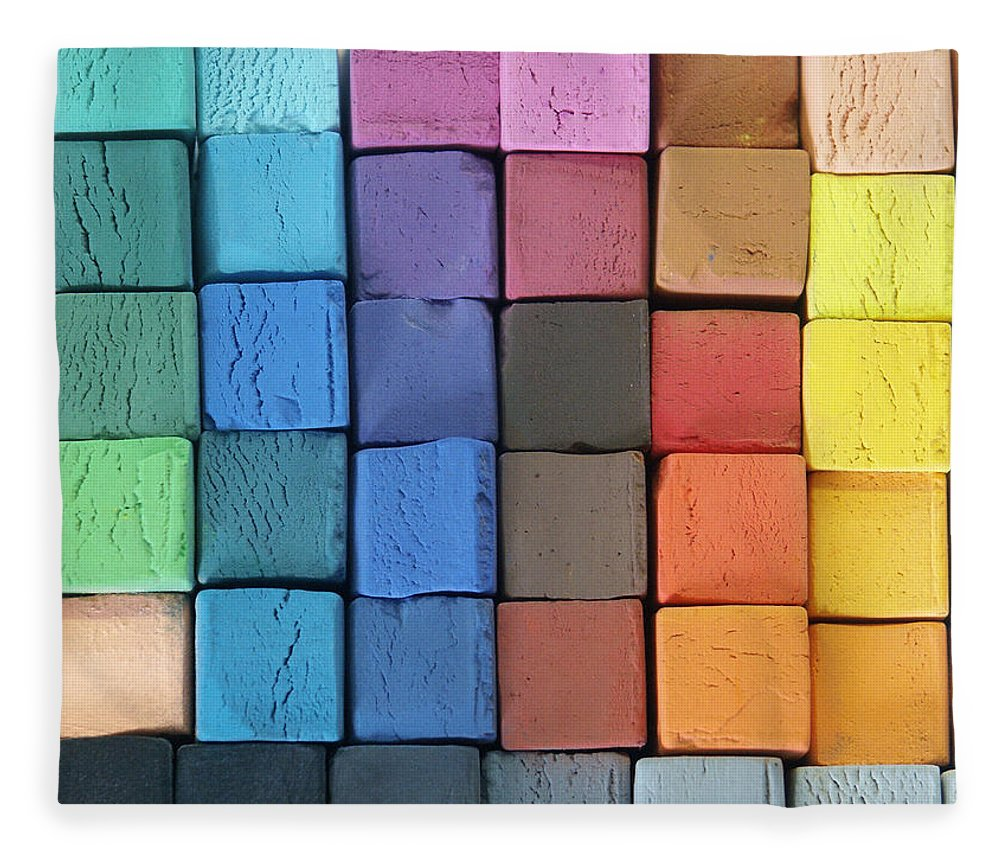 Block Shape Fleece Blanket featuring the photograph Coloured Pastels by Mevans