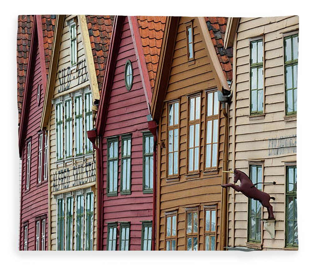 Panoramic Fleece Blanket featuring the photograph Colourful Houses In A Row by Keith Levit / Design Pics