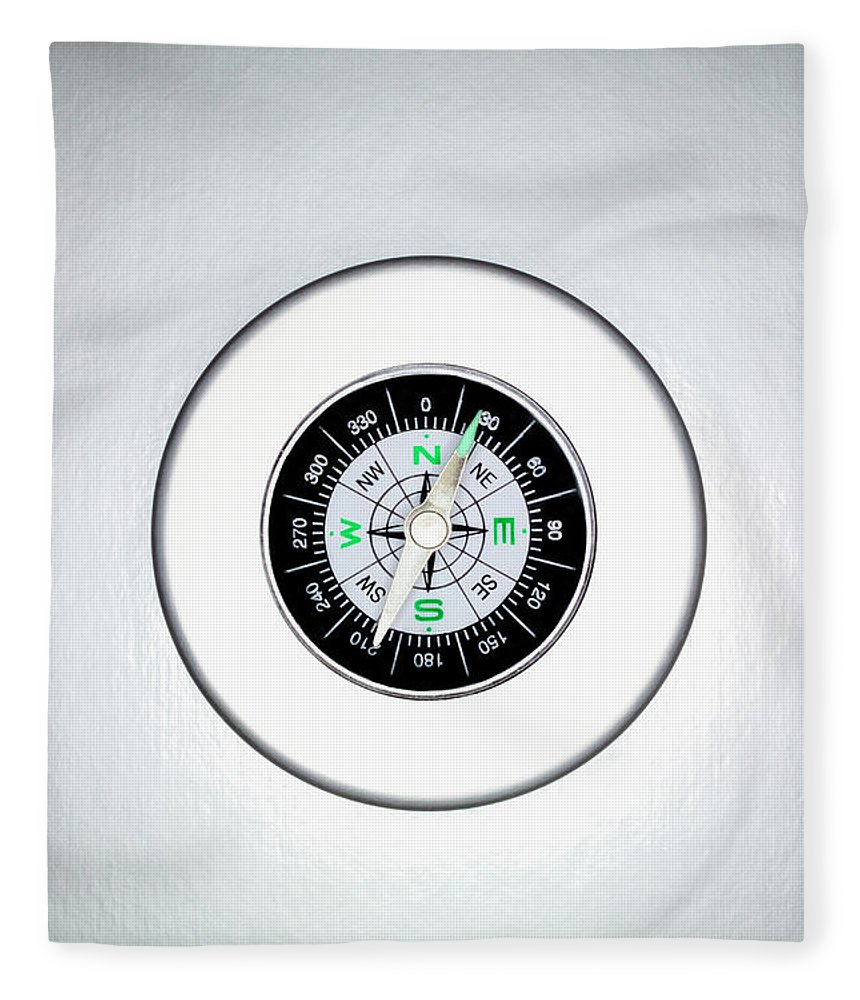 White Background Fleece Blanket featuring the photograph Compass, Overhead View by Martin Poole