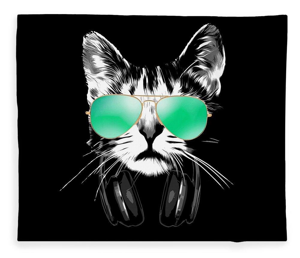 Cat Fleece Blanket featuring the digital art Cool DJ Cat by Filip Schpindel