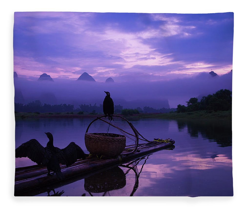 Chinese Culture Fleece Blanket featuring the photograph Cormorant On Li River by Coffeeyu