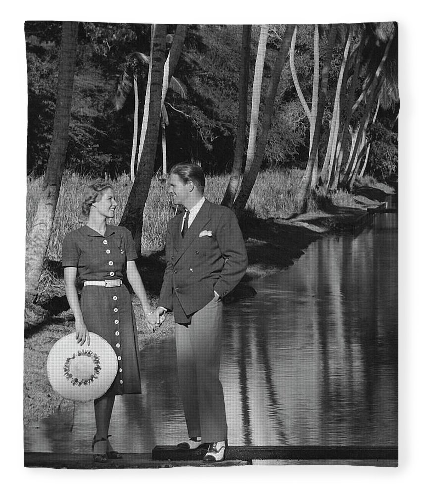 Heterosexual Couple Fleece Blanket featuring the photograph Couple Outdoors by George Marks