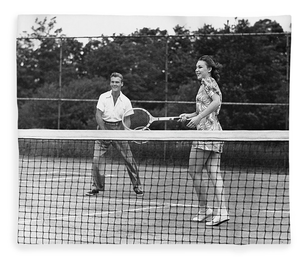 Heterosexual Couple Fleece Blanket featuring the photograph Couple Playing Tennis by George Marks