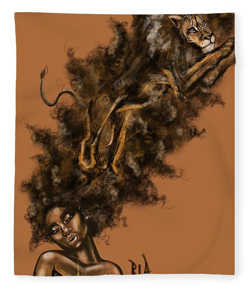 Lion Fleece Blanket featuring the painting Courageous Me by Artist RiA