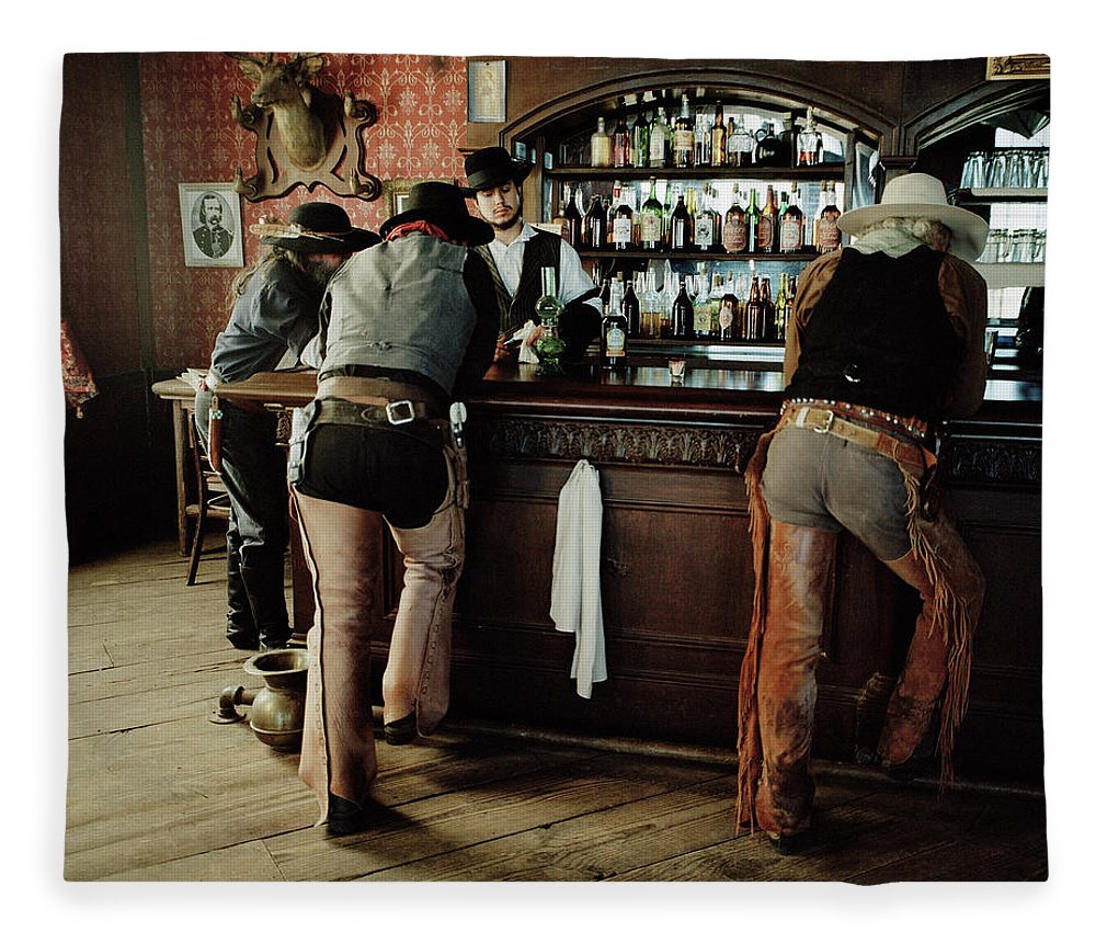 Young Men Fleece Blanket featuring the photograph Cowboys At Saloon by Matthias Clamer