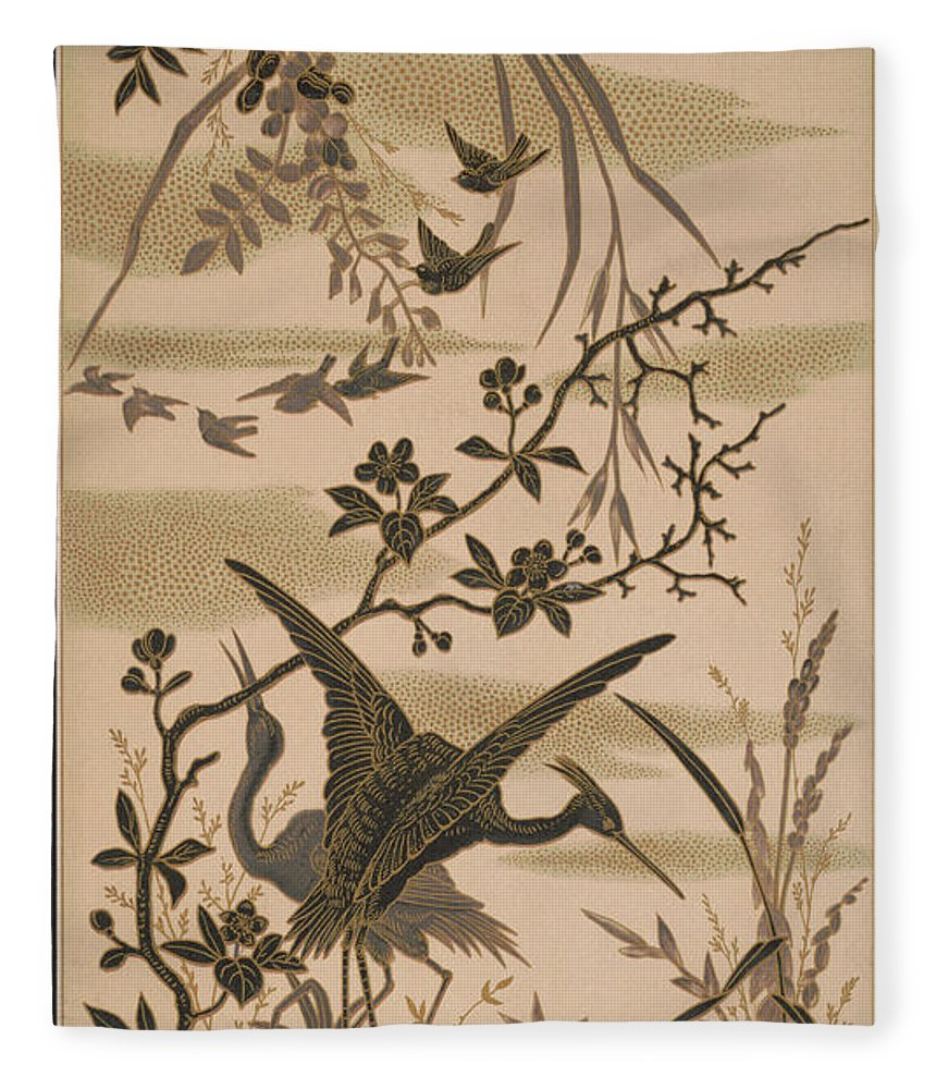 Crane Fleece Blanket featuring the pyrography Cranes And Birds At Pond 1880 by Daniel Hagerman
