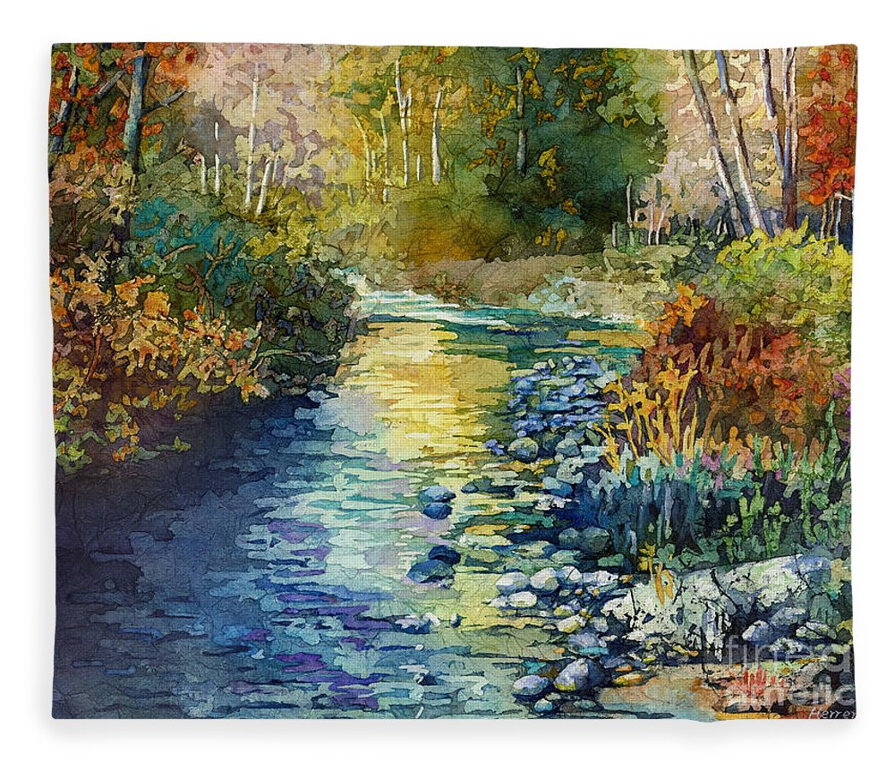 Creek Fleece Blanket featuring the painting Creekside Tranquility by Hailey E Herrera