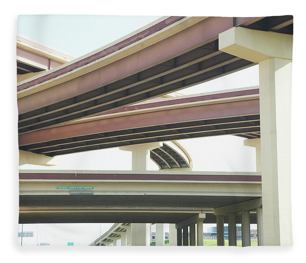 Crisscross Fleece Blanket featuring the photograph Crisscrossing Freeway Overpasses by Siri Stafford