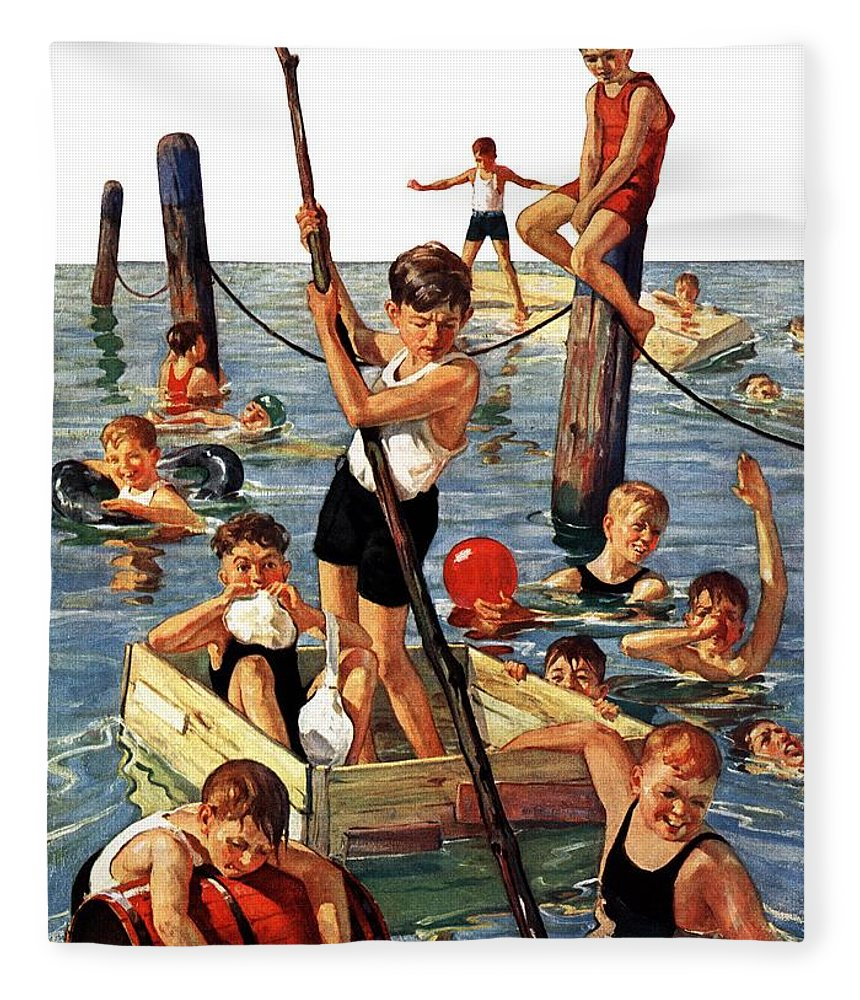Boats Fleece Blanket featuring the drawing Crowd Of Boys Swimming by Eugene Iverd
