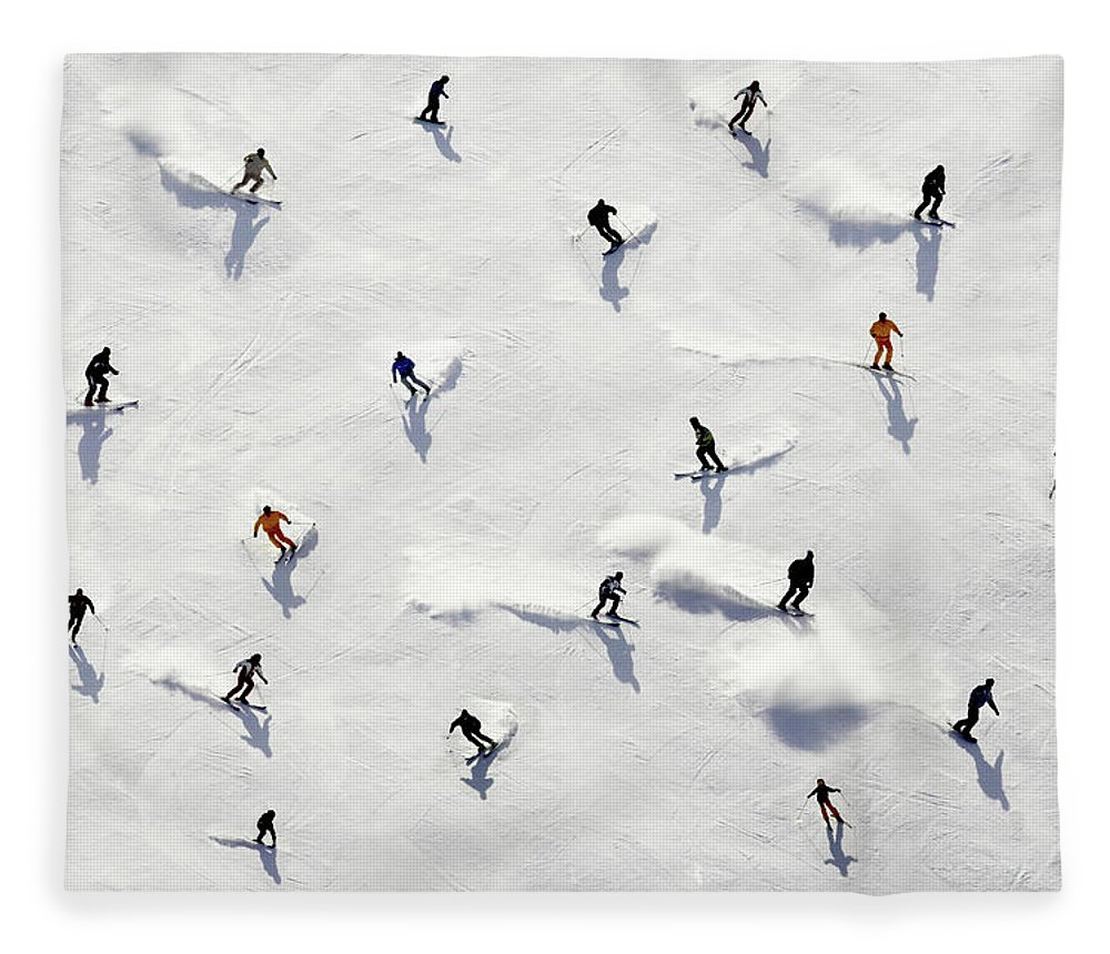 Skiing Fleece Blanket featuring the photograph Crowded Holiday by Mistikas