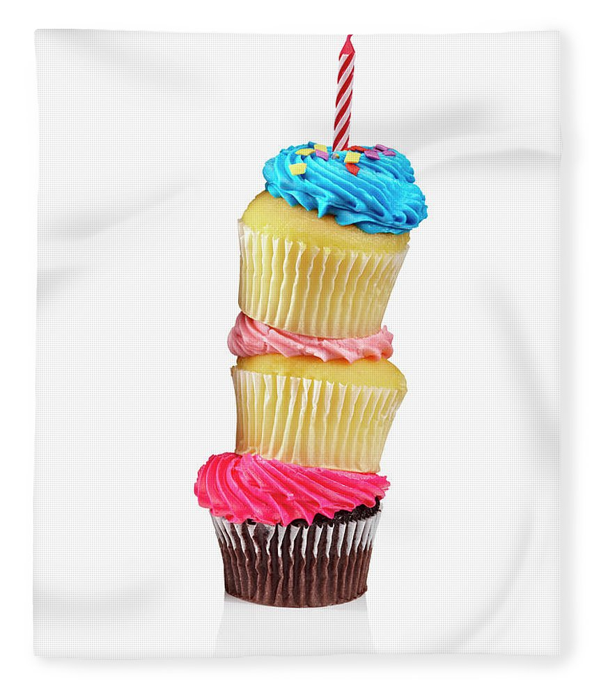 Unhealthy Eating Fleece Blanket featuring the photograph Cupcakes In A Stack by Lew Robertson