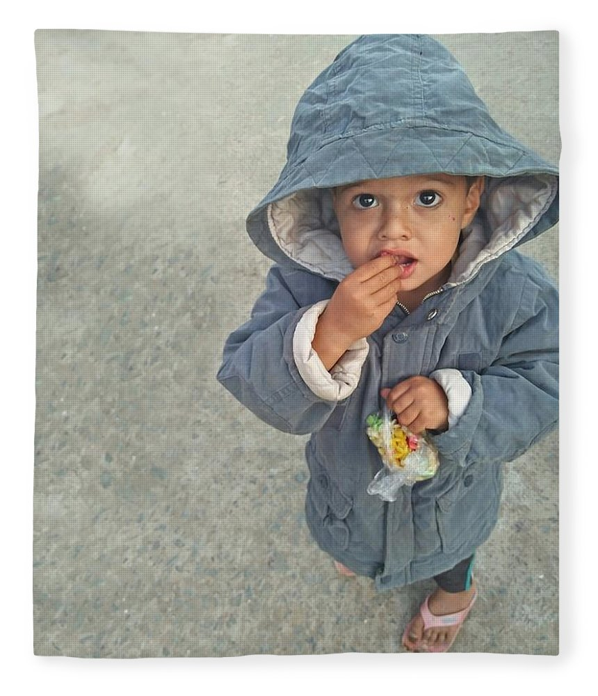 Cute Fleece Blanket featuring the photograph Cute baby by Imran Khan